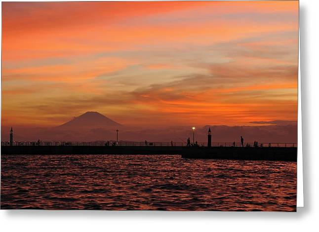 Fuji Greeting Cards - Marine Day Sky Greeting Card by Aaron S Bedell