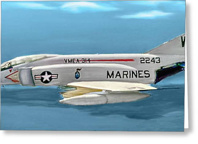 Military Airplanes Greeting Cards - Marine F-4 Phantom  Painting Greeting Card by  Bob and Nadine Johnston