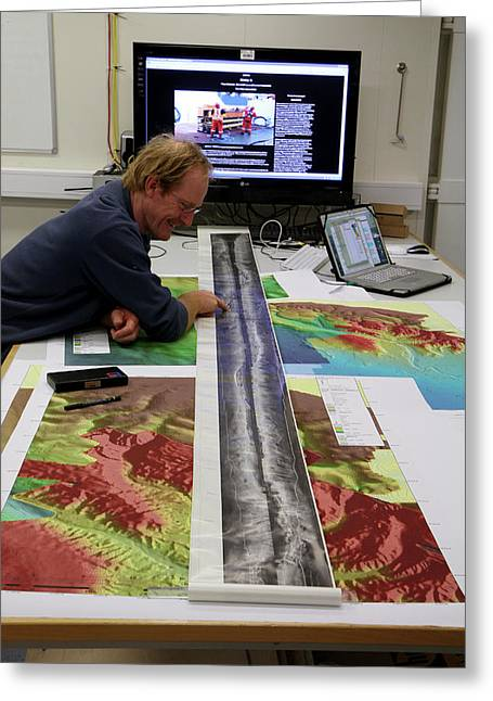 Marine Geologist Studying Seafloor Map Greeting Card by B. Murton/southampton Oceanography Centre