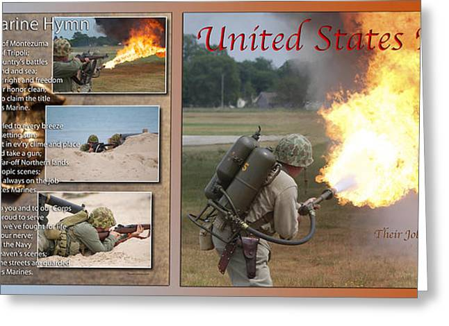 Jarhead Greeting Cards - Marine Hymn And Flame Thrower 2 Panel 02 Greeting Card by Thomas Woolworth