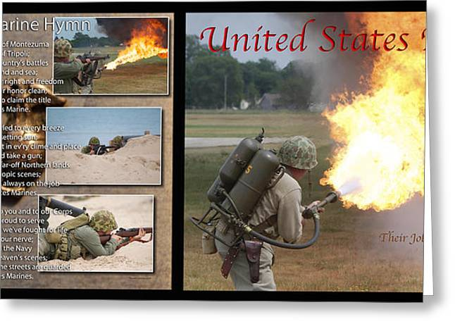 Jarhead Greeting Cards - Marine Hymn And Flame Thrower 2 Panel Black Back Ground Greeting Card by Thomas Woolworth