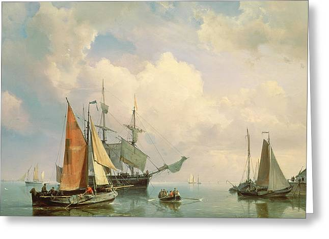 Docked Sailboats Greeting Cards - Marine  Greeting Card by Johannes Hermanus Koekkoek