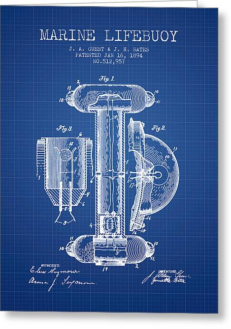 Lifebuoy Greeting Cards - Marine Lifebuoy Patent from 1894 - Blueprint Greeting Card by Aged Pixel