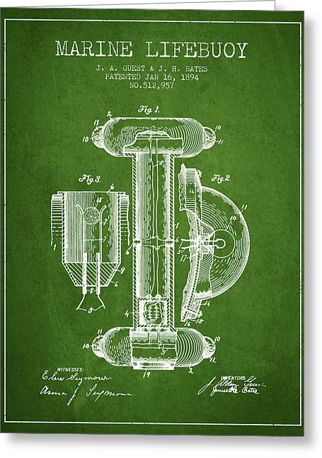 Lifebuoy Greeting Cards - Marine Lifebuoy Patent from 1894 - Green Greeting Card by Aged Pixel