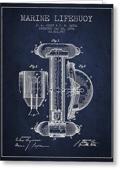 Lifebelt Greeting Cards - Marine Lifebuoy Patent from 1894 - Navy Blue Greeting Card by Aged Pixel