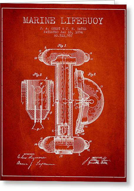 Lifebelt Greeting Cards - Marine Lifebuoy Patent from 1894 - Red Greeting Card by Aged Pixel