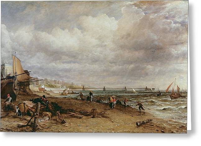 Brighton Beach Greeting Cards - Marine Parade And Old Chain Pier, 1827 Oil On Canvas Greeting Card by John Constable