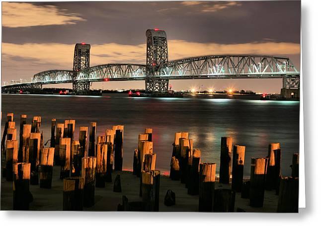 Moonlit Night Greeting Cards - Marine Parkway Bridge Greeting Card by JC Findley