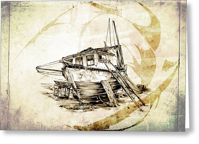 Historic Schooner Digital Greeting Cards - Marine sea 02 Greeting Card by Rafal Kulik