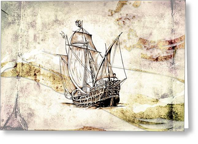 Historic Schooner Digital Greeting Cards - Marine sea 03 Greeting Card by Rafal Kulik