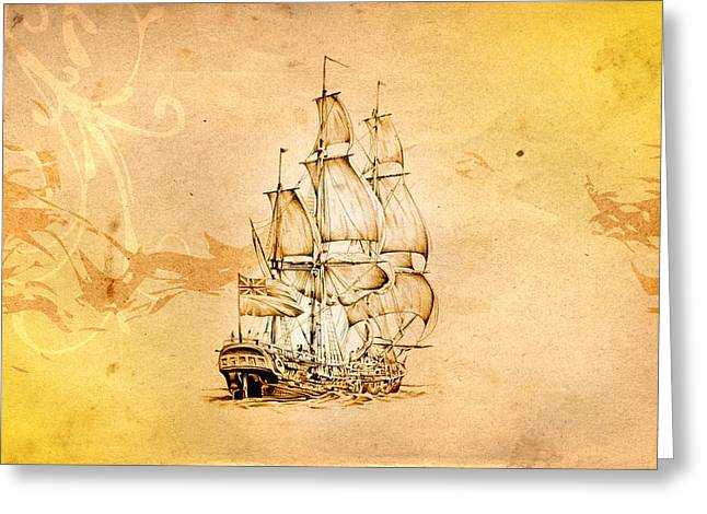Historic Schooner Digital Greeting Cards - Marine sea 04 Greeting Card by Rafal Kulik