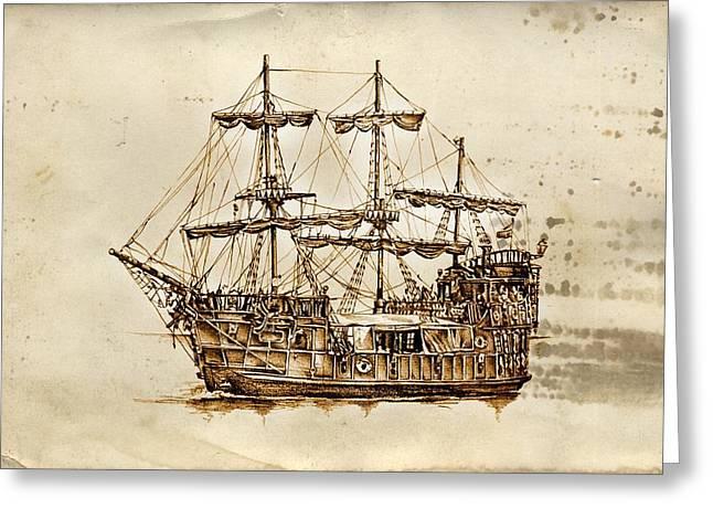 Historic Schooner Greeting Cards - Marine sea 32 Greeting Card by Rafal Kulik