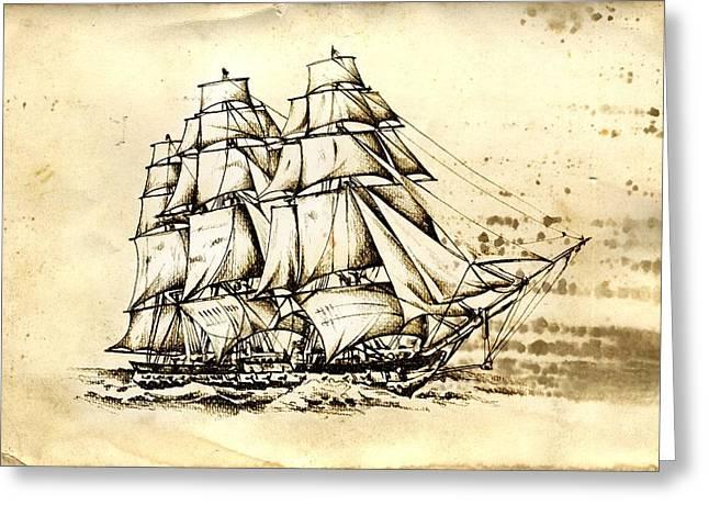 Historic Schooner Greeting Cards - Marine sea 37 Greeting Card by Rafal Kulik