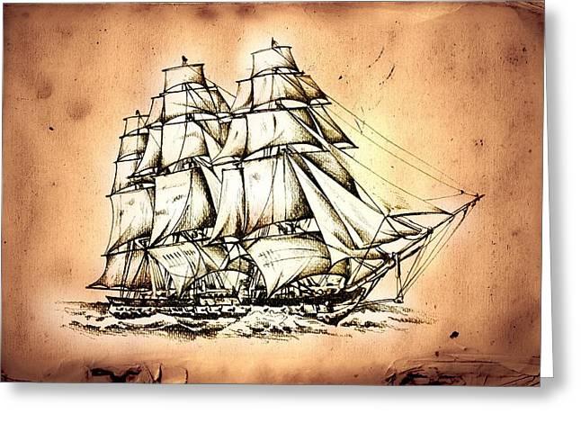 Historic Schooner Greeting Cards - Marine sea 39 Greeting Card by Rafal Kulik