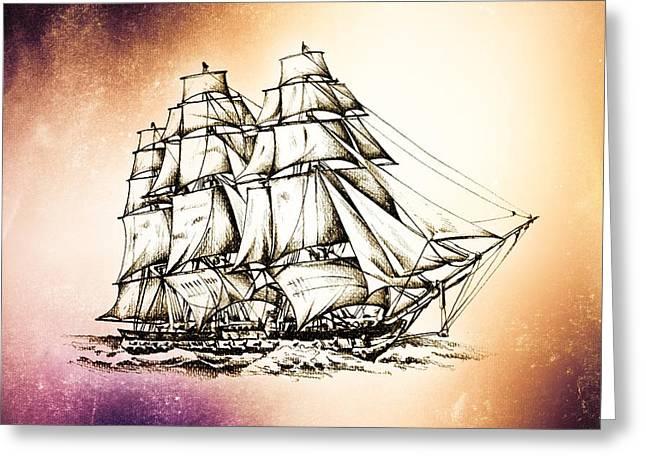 Historic Schooner Greeting Cards - Marine sea 40 Greeting Card by Rafal Kulik