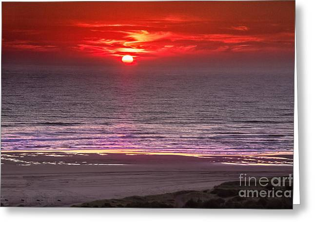 Haybale Greeting Cards - Marine Sunset Greeting Card by Robert Bales