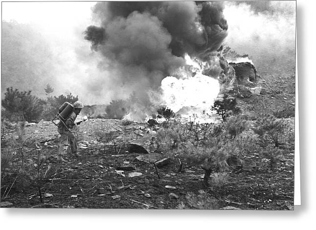 Marine With Flamethrower Greeting Card by Underwood Archives