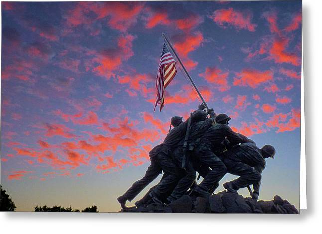 Usmc Greeting Cards - Marines at Dawn Greeting Card by JC Findley