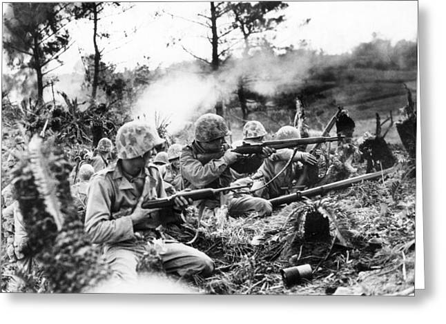 Marines In Okinawa Greeting Card by Underwood Archives