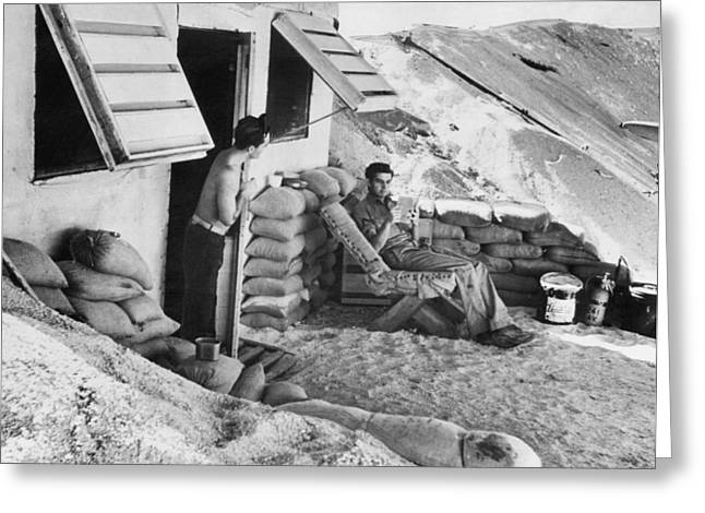 Marines Relax On Midway Island Greeting Card by Underwood Archives