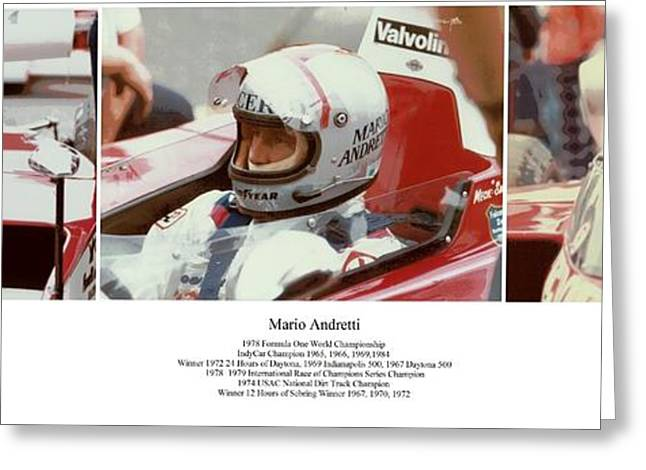 Arcas Greeting Cards - Mario Andretti Greeting Card by Don Struke