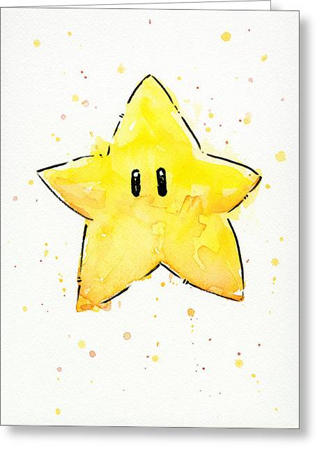 Game Mixed Media Greeting Cards - Mario Invincibility Star Watercolor Greeting Card by Olga Shvartsur