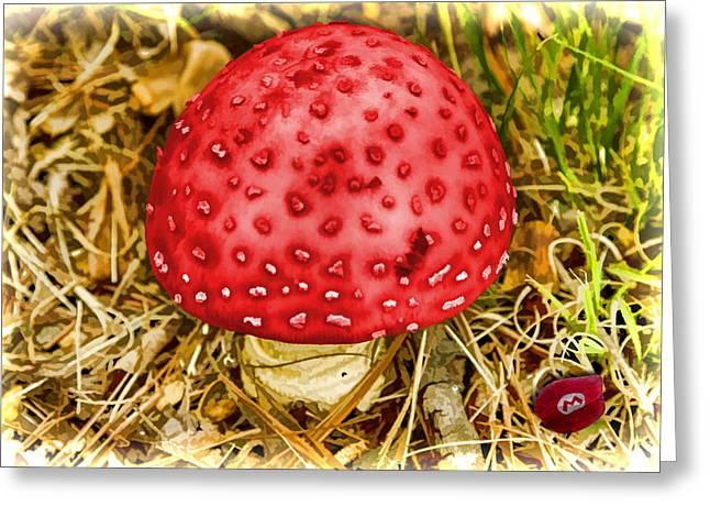 Funny Video Game Digital Art Greeting Cards - Mario Mushroom Mayhem Greeting Card by John Haldane