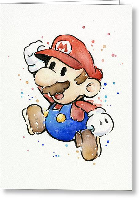 Game Mixed Media Greeting Cards - Mario Watercolor Fan Art Greeting Card by Olga Shvartsur