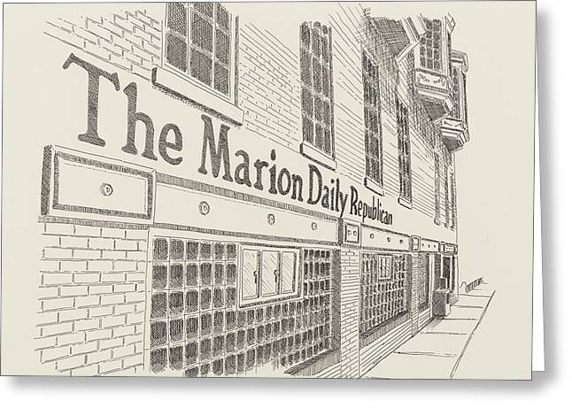 Republican Drawings Greeting Cards - Marion Daily Republican Greeting Card by Shawn Vincelette