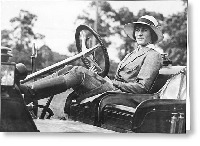 Marion Gaynor At The Wheel Greeting Card by Underwood Archives
