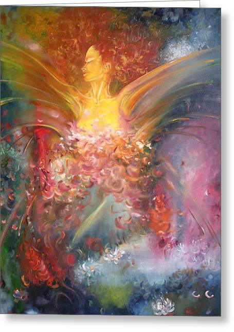 Seraphim Angel Paintings Greeting Cards - Breast Cancer Research Foundation Greeting Card by Julio R Lopez Jr