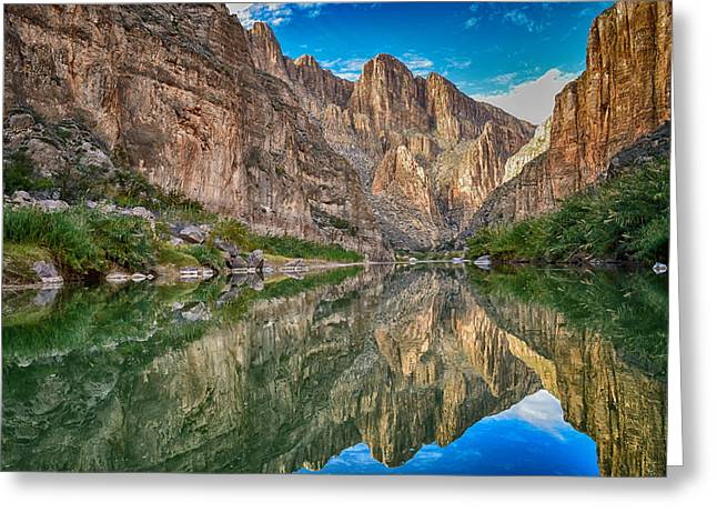 Refection Greeting Cards - Mariscal Canyon Reflections Greeting Card by Maria Blosser