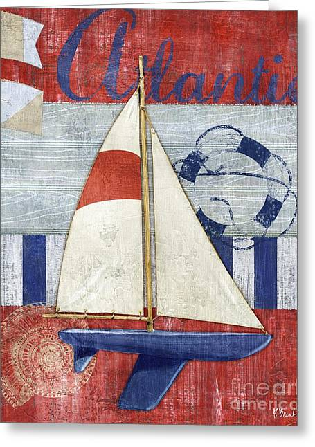 Blue Sailboats Greeting Cards - Maritime Boat I Greeting Card by Paul Brent