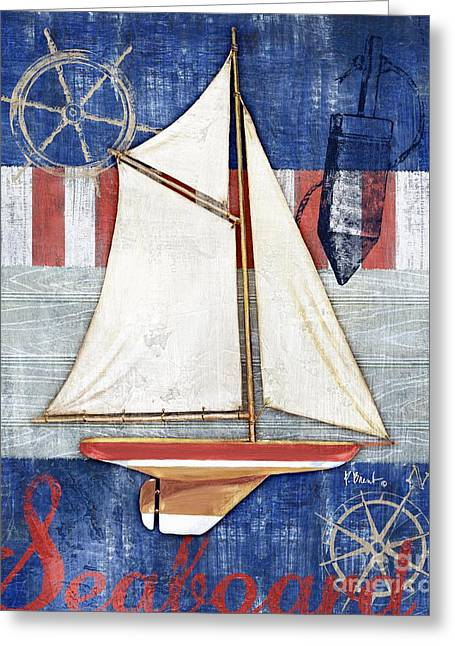 Blue Sailboats Greeting Cards - Maritime Boat II Greeting Card by Paul Brent