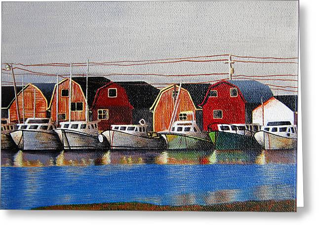 Blue Green Water Greeting Cards - Maritime Boats Greeting Card by Sharon Patterson