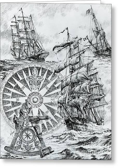 Tall Ships Drawings Greeting Cards - Maritime Heritage Greeting Card by James Williamson