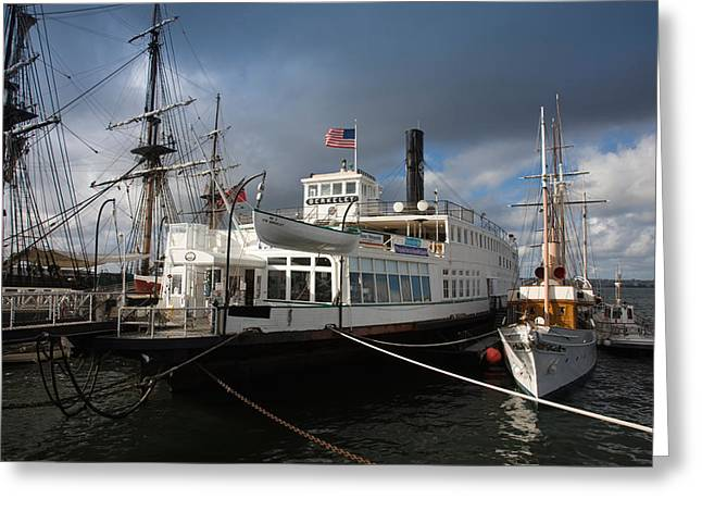 Images Of San Diego Greeting Cards - Maritime Museum With Ferry Berkeley Greeting Card by Panoramic Images