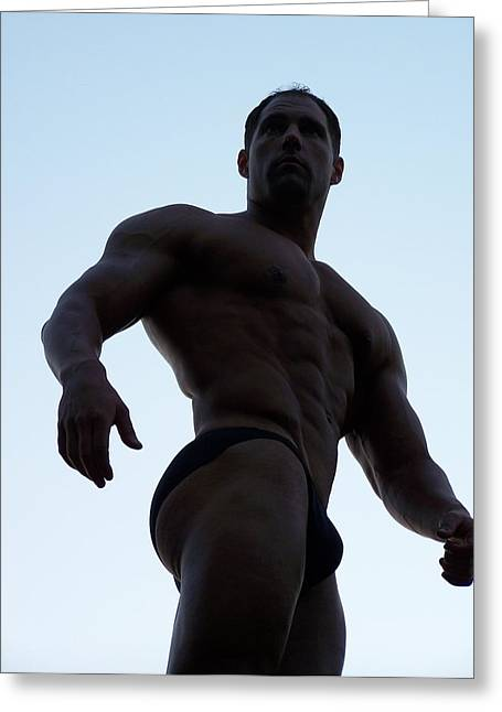 Pecs Digital Greeting Cards - Marius   Male Physique Art Greeting Card by Jake Hartz