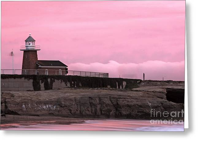 Steamer Lane Greeting Cards - Mark Abbot Memorial Lighthouse in Santa Cruz CA Greeting Card by Paul Topp