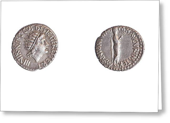 Mark Antony Coin Greeting Card by Science Photo Library