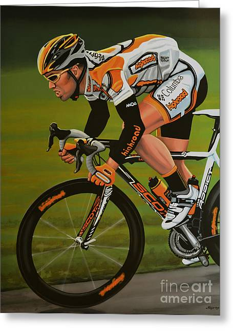 Madison Greeting Cards - Mark Cavendish Greeting Card by Paul Meijering