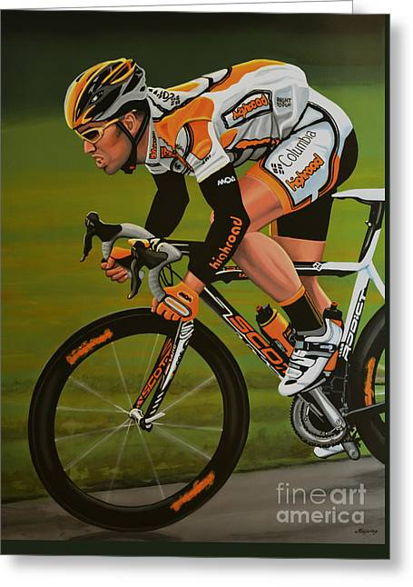Sprinter Greeting Cards - Mark Cavendish Greeting Card by Paul Meijering