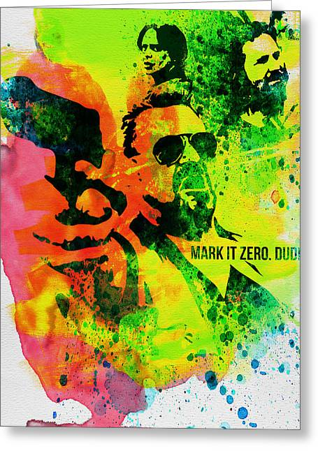 Famous Actor Paintings Greeting Cards - Mark it Zero Watercolor Greeting Card by Naxart Studio
