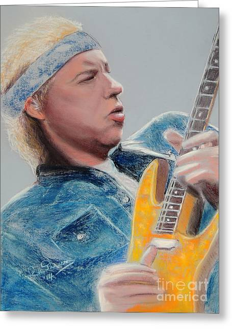 Lead Pastels Greeting Cards - Mark Knopfler Dire Straits Greeting Card by Ruth Jamieson