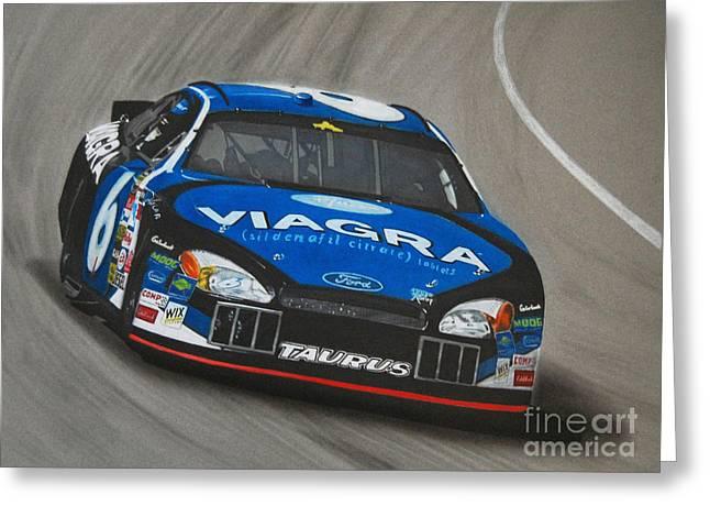 Mark Drawings Greeting Cards - Mark Martin Viagra Ford Greeting Card by Paul Kuras