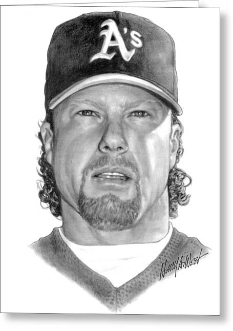Oakland Athletics Greeting Cards - Mark McGwire Greeting Card by Harry West