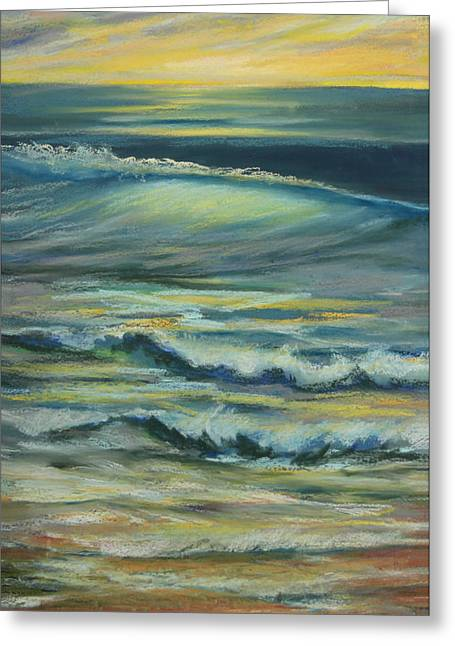 Surf Pastels Greeting Cards - Mark  Movement  Ocean Swell Greeting Card by Ron Libbovement
