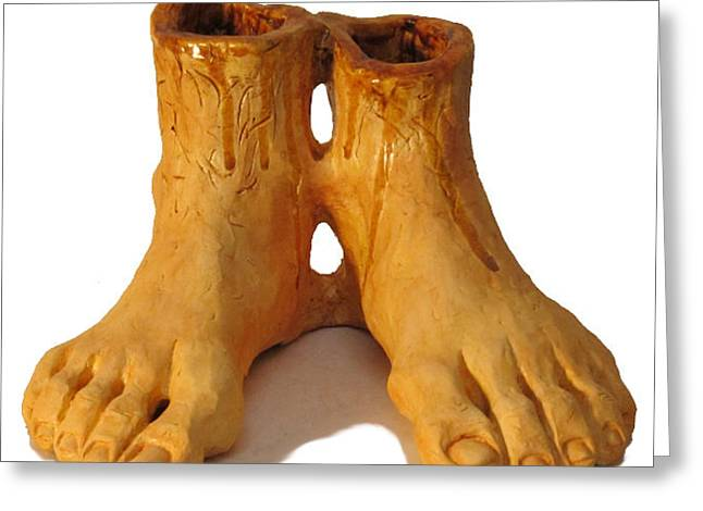 Feet Sculptures Greeting Cards - Mark S. Allens Feet Greeting Card by Karen Fulk