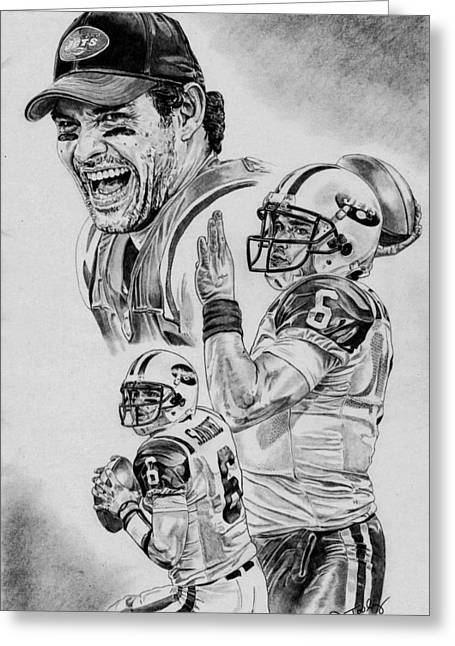 Pro Football Drawings Greeting Cards - Mark Sanchez Greeting Card by Jonathan Tooley