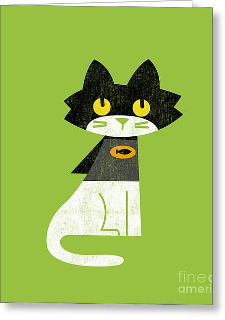 Cute Cat Greeting Cards - Mark the batcat Greeting Card by Budi Kwan